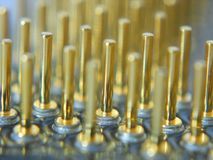 Processor Gold Contacts. Microprocessor gold contacts from close up stock photography
