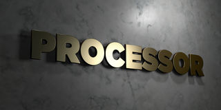 Processor - Gold sign mounted on glossy marble wall  - 3D rendered royalty free stock illustration Royalty Free Stock Photos