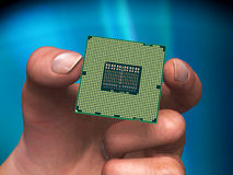 Processor in hand. Modern central processor in hand royalty free stock image