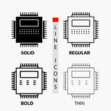 Processor, Hardware, Computer, PC, Technology Icon in Thin, Regular, Bold Line and Glyph Style. Vector illustration royalty free illustration