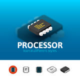 Processor icon in different style Royalty Free Stock Photo