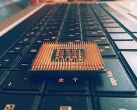 Processor on the laptop royalty free stock photos