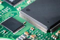 Processor med closeupen för bräde för elektronisk strömkrets Royaltyfri Fotografi