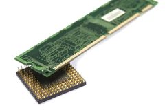 Processor & memory plate. Photo of processor & memory plate Royalty Free Stock Photography