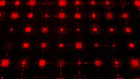 Processor or microchip and electronic signals on motherboard circuit. Animation. Abstract futuristic electronic circuit