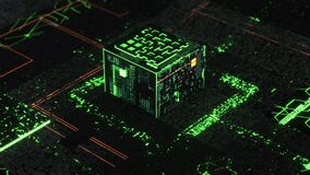 Processor or microchip and electronic signals on motherboard circuit, 3D motion graphics. Animation. Futuristic circuit