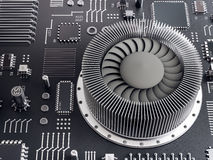 Processor (microchip) interconnected receiving and sending information. Concept of technology and future. Stock Photos