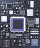Processor (microchip) interconnected receiving and sending information. Concept of technology and future. Royalty Free Stock Photo