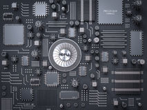 Processor (microchip) interconnected receiving and sending information. Concept of technology and future. Royalty Free Stock Image