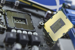 Processor on the motherboard with socket prepared for installati Royalty Free Stock Image