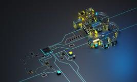 processor och cryptocurrency för bild 3D Arkivbild