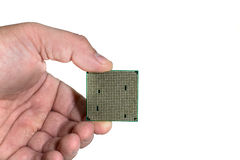 The processor in the person`s hand.  Stock Photography