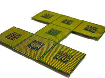 Processor with a plurality of contacts lined letter i Stock Photos