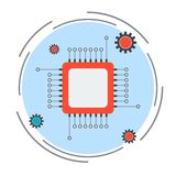 Processor vector icon Royalty Free Stock Photos