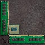 Processorn för central dator med minnesenheter Royaltyfri Fotografi