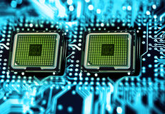 Processors. Dual processor slot, motherboard circuit Royalty Free Stock Images