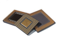 Processors. Close view of Computer CPU. Processors on white background royalty free stock photos