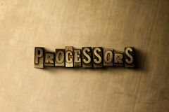 PROCESSORS - close-up of grungy vintage typeset word on metal backdrop. Royalty free stock illustration. Can be used for online banner ads and direct mail royalty free stock photo