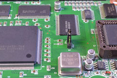 Processors and memory chips. At printed circuit card stock photos