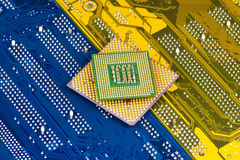 Processors On Motherboard Background. Closeup royalty free stock image