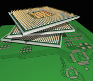 Processors on the PCB. Stock Photo