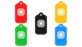 Processorsymbol, tecken, illustration 3D Fotografering för Bildbyråer