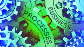 Processos de negócios do oncept do ¡ de Ð nas engrenagens Ilustração verde e azul da ilustração 3d do fundo do weel da engrenagem ilustração royalty free