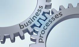 Processos de negócios nas engrenagens do metal ilustração stock
