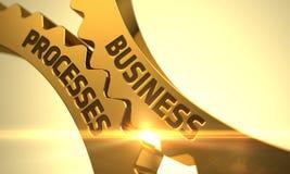 Processos de negócios nas engrenagens douradas da roda denteada 3d Fotos de Stock Royalty Free