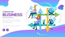 Processus aérodynamique d'affaires avec des déroulements des opérations, CRM image stock