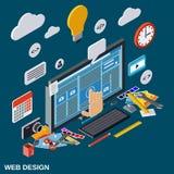 Processus créatif, web design, concept de vecteur de développement de site Web Images stock