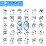 Processus d'esprit, ligne mince icônes réglées illustration libre de droits