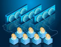 Processus d'exploitation de Bitcoin Ferme de serveur Technologie de Blockchain Image stock