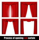 Processus d'ouvrir le rideau rouge Images stock