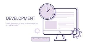 Processus de concept d'affaires de créativité de bannière créative de Web de développement avec l'espace de copie illustration stock