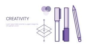 Processus de concept d'affaires de créativité de bannière créative de Web de développement avec l'espace de copie illustration de vecteur