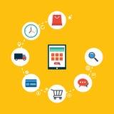 Processus de conception plate d'affaires de commerce électronique de marketing en ligne Photo stock