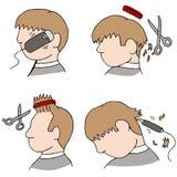 Processus de coupe de cheveux illustration stock
