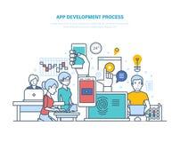 Processus de développement d'APP Technologies de l'information, programmation, codant, web design Image libre de droits