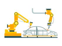 Processus de fabrication robotique moderne de voiture illustration libre de droits