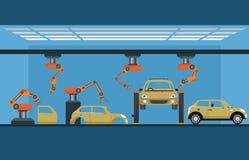 Processus de fabrication de voiture avec l'assemblée des véhicules à moteur robotique intelligente Photo libre de droits