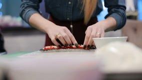 Processus de faire des sushi et des petits pains banque de vidéos