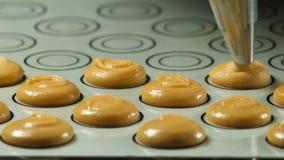 Processus de faire le macaron de macaron, serrant la forme de la pâte faisant cuire le sac L'industrie alimentaire, la masse ou p photographie stock libre de droits