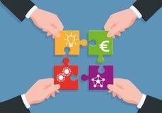 Processus de la fabrication un réseau de projet, d'idée, de création, de financement et de distribution illustration de vecteur