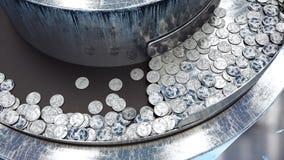 Processus de la production des pièces de monnaie, 25 cents Concept industriel Équipement et macine d'usine rendu 3d Images libres de droits