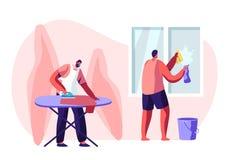 Processus de ménage de caractères masculins de ménage Routine quotidienne des fonctions et des corvées, hommes de Houseworking ne illustration de vecteur