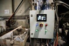Processus de processus de traitement de l'eau Tableau de bord dans la production Production de rebut de presse photos libres de droits