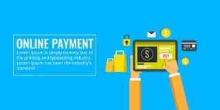 Processus en ligne de paiement, e-paiement, application, transfert d'argent, achats, concept de commerce électronique Bannière pl Image libre de droits