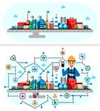 Processus industriel global de technologie d'usine avec le concept d'écologie Illustration plate de style des bâtiments de fabric