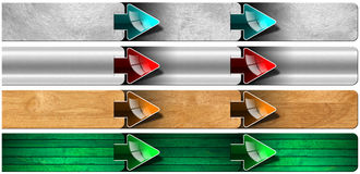Prochaine étape - boîte en bois et en métal avec des flèches Images libres de droits